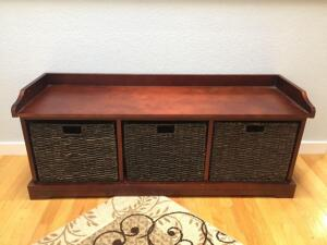 Storage Bench with three basket pull out bins, 50x16x20
