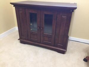 Credenza storage cabinet with glass doors 37x20 1/2x28 (no contents included)