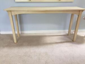 Off White sofa table, 60x16x28 (top has a few blemishes to top)