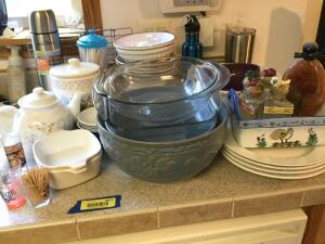 Teapot, individual CorningWare casseroles, shot glasses, 4 matching white dinner plates, new Adventureridge thermos and more.