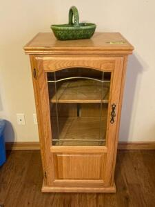 Modern oak hall tree, modern rolling oak media cabinet with leaded glass front door and two adjustable shelves, Haeger USA basket. Hall tree is 6' and cabinet measures 21 x 16 x 43