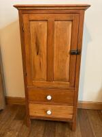 Small cabinet with door and two drawers Measures 18 x 11 x 36