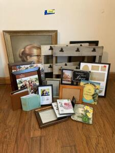 Various types of photo display pieces and framed picture of a young lady