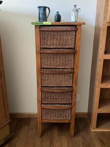 Five basket storage shelf with three pottery pieces Baskets are plastic wicker Measures 20 x 15 x 55