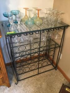 For the wine drinkers we have an iron wine bottle and stemware holder AND we've even included the stemware just in case you don't have any! Measures 33 x 19 x 38
