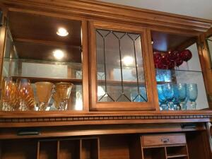 All colored stemware in hutch