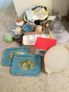 Pampered Chef pizza stone, cheese pedestal w/ dome cover, cake pedestal, vases, two vintage tin serving trays, linens and more