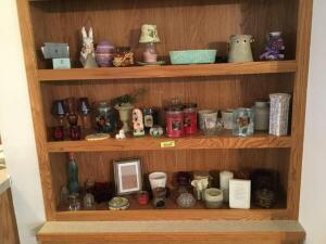Lots of pretties-chalkware dog, candles and holders, USA pottery , small RRPC crock, trinket box and much more