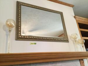 Wall mirror measure 42 x 30 and three candle holders