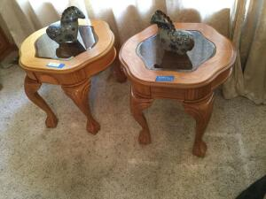 Modern matching end tables w/ glass inserts and two little ponies