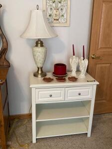 Two drawer/two shelf dresser, table lamp, wall art and decor Measures 30 x 15 x 30