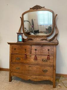 Vintage oak four drawer dresser w harp mirror and decor See photos for damage to mirror Measures 42 x 21 x 66