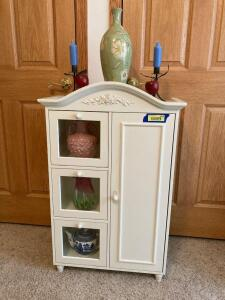 Cute little storage cabinet and all decor Measures 22 x 10 x 37  See photos for damage