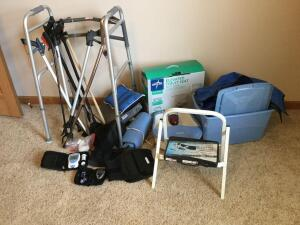 Walker, grabbers, elevated toilet seat, Homedics foot spa, heating pad, back brace, CoaguChek XS monitor, One Touch Ultra 2 glucose monitor and more