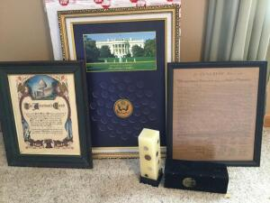Coins of the World candle, Declaration of Independence, The Americans Creed and United States of America Presidential Dollars framed coin holder