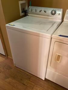 Maytag washer, Amana dryer, laundry hamper with linens See description for details