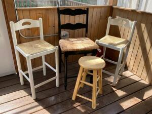 Four stools-2' round and three 3'