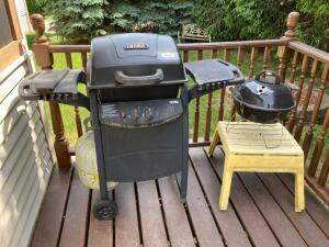 Thermos propane grill, Vortex charcoal grill and two resin tables