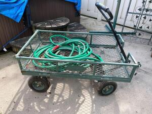Suncast utility cart and garden hose