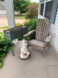Adjustable Adirondack chair, rectangular wicker planter box and a cement Easter bunny w a hole in her basket Planter measures 27 x 11 x 28