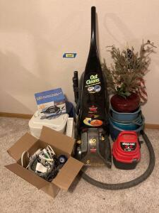 Bissell Pro Heat dirt lifter vacuum 12amps, 1-gallon Shop Vac, QuickFill electric pump, Hunter humidifier, wash buckets floral decor, box of misce. electronics and parts.