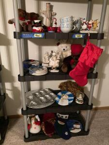 Holiday decor including Jell-O molds, tinsel, ceramic dessert plates, stuffed animals, soup bowls, dip tray, snow globe and more. Storage shelf not included. See lots 6563, 6564, 6565 for shelving.