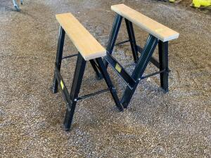 Pair of Harbor Freight Tools folding sawhorses