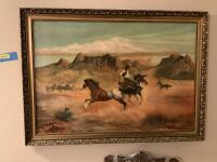 Bobby G Rogers 1968 Western art on canvas Measures 45 x 33