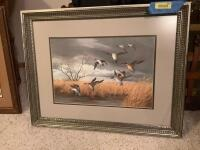 """Easy Landing Pintails"" by Maynard Reece Framed measures 32 x 25 and image measures 20 x 13"