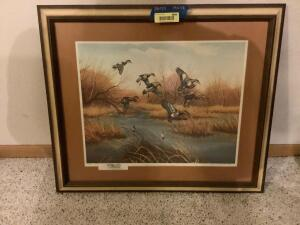 """Hidden Slough-Widgeons"" by John Eberhardt Signed and numbered artist proof 97/100 Framed measures 28 x 23 and image measures 19 x 15"