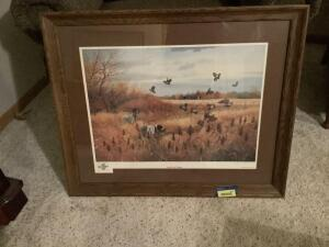 """Covey Rise At Wingover"" by John Eberhardt Signed and numbered artist proof 23/25 Framed measures 34 x 27 and image measures 24 x 18"