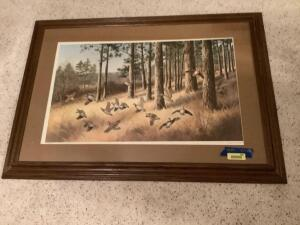 """Out of the Pines-Bobwhites"" by Maynard Reece 1981 Signed and numbered 330/950 Framed measures 44 x 32 and image measures 32 x 20"