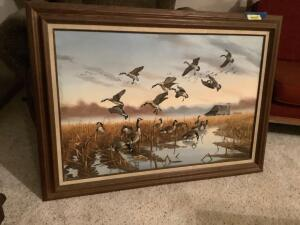 Canadian Geese on canvas by John Eberhardt 1983 Measures 44 x 31