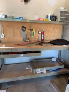 Shop bench and all contents-shelf measures 6' x 2' x 5' Contents include saws, nails, bin, mousetraps, drill bits, etc. **One drawer does appear to be broken**