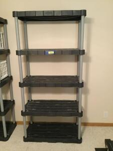 Five tier Rubbermaid brand shelf, excluding contents. Shelf Measures 34 x 18 x 72