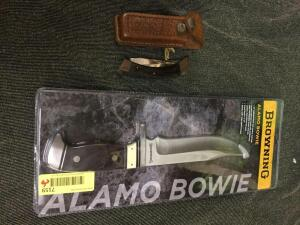 Browning brand, Alamo Bowie fixed blade, new in box, and a 3 blade lock knife.
