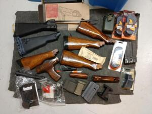 Variety of AK Parts includes wood buttstocks Originals magazines Clips butt pads Please refer to photos