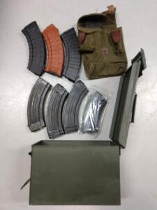8 AK magazines military carrier in ammo box
