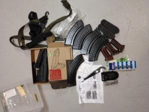 6 AK magazines but stock forearm batteries pistol grip for front and accessories