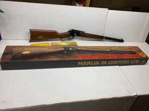 Marlin 39 century LTD 22 cal lever action rifle octagon barrel scope rail SN 14839 with original box and manual