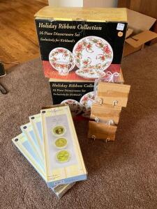 NIB Baum Brothers formalities Holiday Ribbon Collection 16 piece dinnerware set x 2 and four Easter plate sets with display racks.
