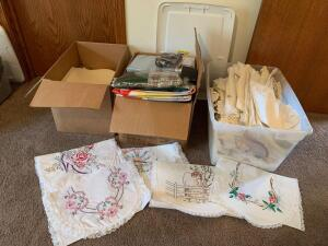 Linens, table clothes, placemats (some new). Very pretty vintage embroidered runners!!