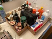 "Medical supplies, 18"" wall shelf, shoe polish, floor mat and more"