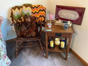 Modern side table w drawer, candles, stuffed bear and vintage rocker Table measures 18 x 16 x 27