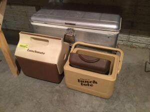 Two lunch coolers and vintage cooler-clean inside and drain is intact