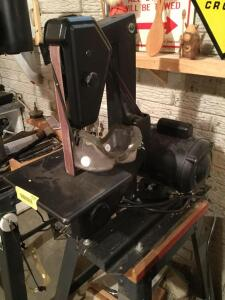 "Chicago Forge 1"" x 42"" belt and 8"" disc sander and all accessories"