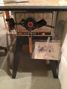 "Craftsman 10"" table saw Model 113.295752 with homemade tabletop that measures 48 x 30"