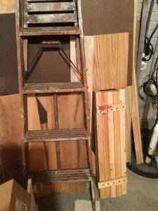 4' painters ladder and various pieces of scrap wood