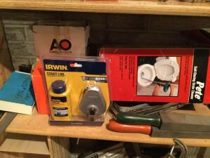 Clamps, laser level pro, self storing drain cleaner, Irwin straight liner, prybars and more See photos