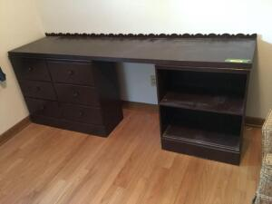 Three piece work station-use your imagine Top measures 80 x 20, shelf measures 23 x 13 x 29 and six drawer dresser measures 36 x 13 x 30